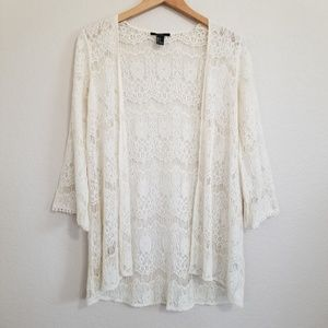 Forever 21 Ivory Lace Open Cardigan Blouse S